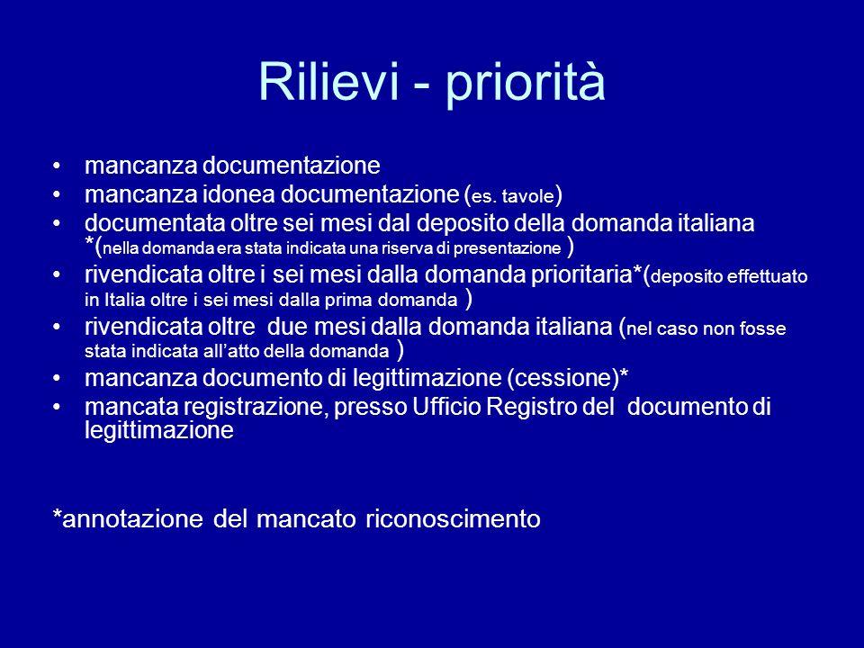 Rilievi - priorità mancanza documentazione mancanza idonea documentazione ( es.
