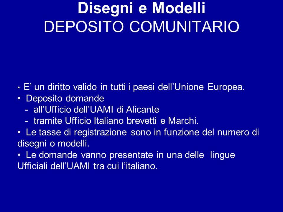 Disegni e Modelli DEPOSITO COMUNITARIO E un diritto valido in tutti i paesi dellUnione Europea.