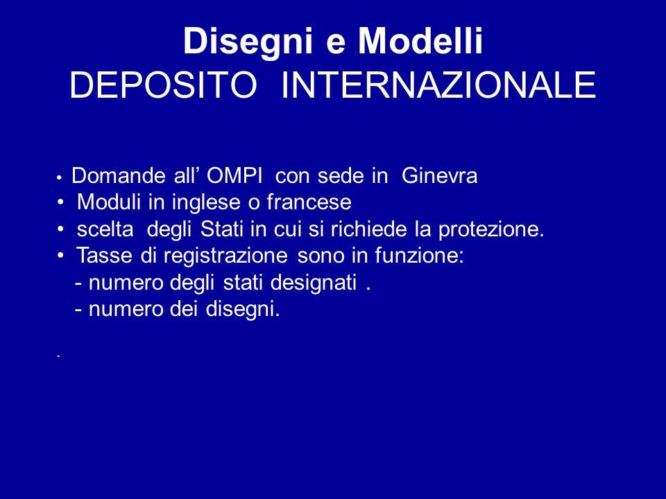 Disegni e Modelli DEPOSITO INTERNAZIONALE Domande all OMPI con sede in Ginevra Moduli in inglese o francese scelta degli Stati in cui si richiede la protezione.