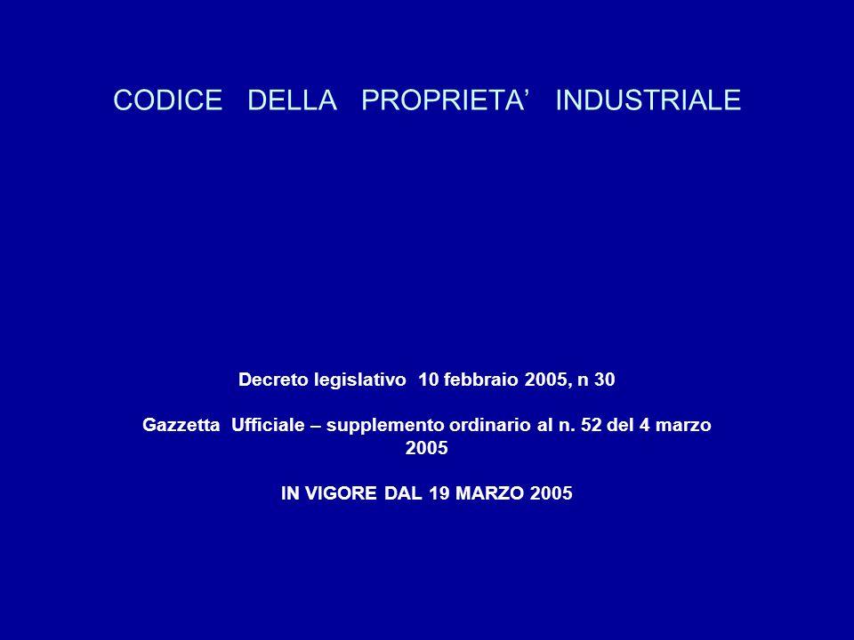 CODICE DELLA PROPRIETA INDUSTRIALE Decreto legislativo 10 febbraio 2005, n 30 Gazzetta Ufficiale – supplemento ordinario al n.