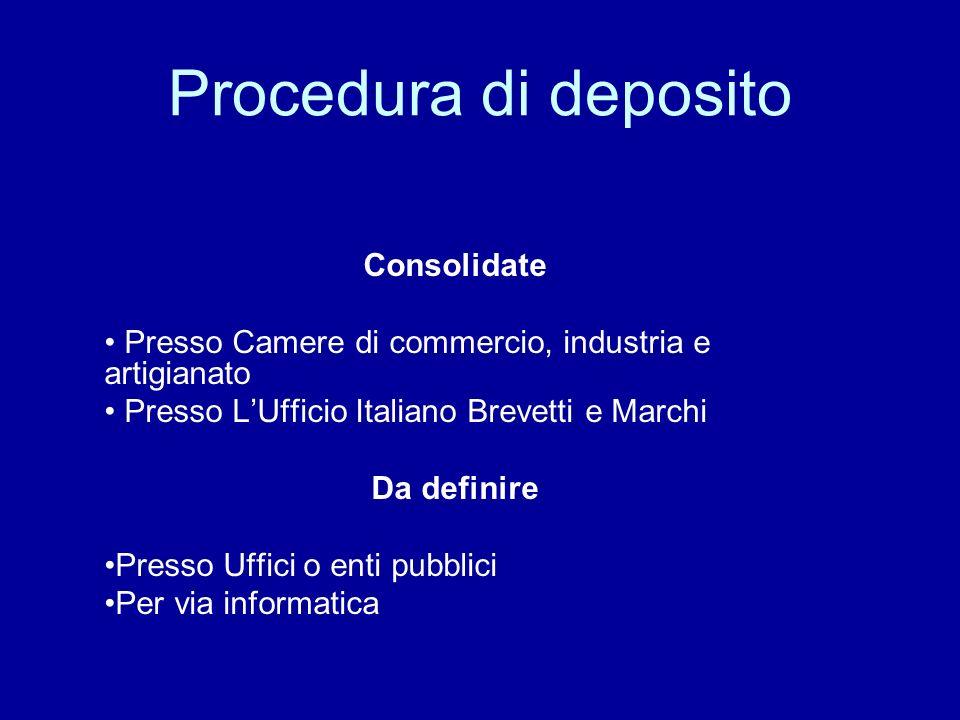 Procedura di deposito Consolidate Presso Camere di commercio, industria e artigianato Presso LUfficio Italiano Brevetti e Marchi Da definire Presso Uffici o enti pubblici Per via informatica