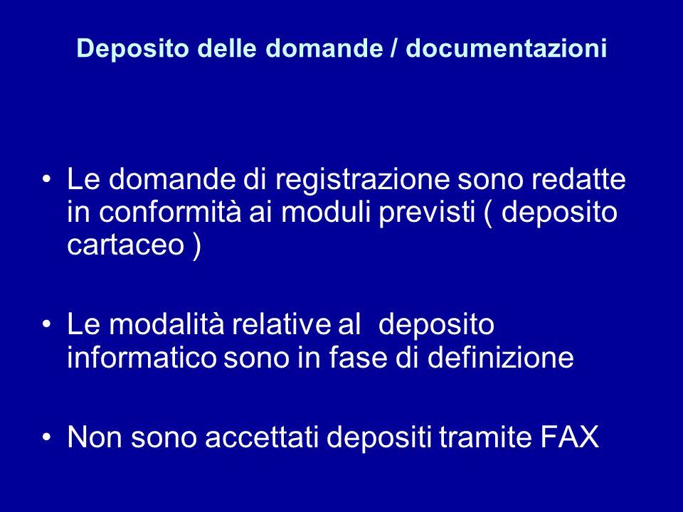 Deposito delle domande / documentazioni Le domande di registrazione sono redatte in conformità ai moduli previsti ( deposito cartaceo ) Le modalità relative al deposito informatico sono in fase di definizione Non sono accettati depositi tramite FAX