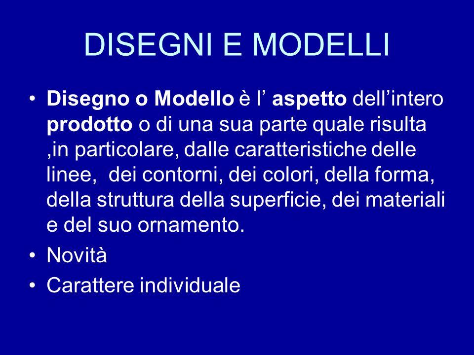 DISEGNI E MODELLI Disegno o Modello è l aspetto dellintero prodotto o di una sua parte quale risulta,in particolare, dalle caratteristiche delle linee, dei contorni, dei colori, della forma, della struttura della superficie, dei materiali e del suo ornamento.