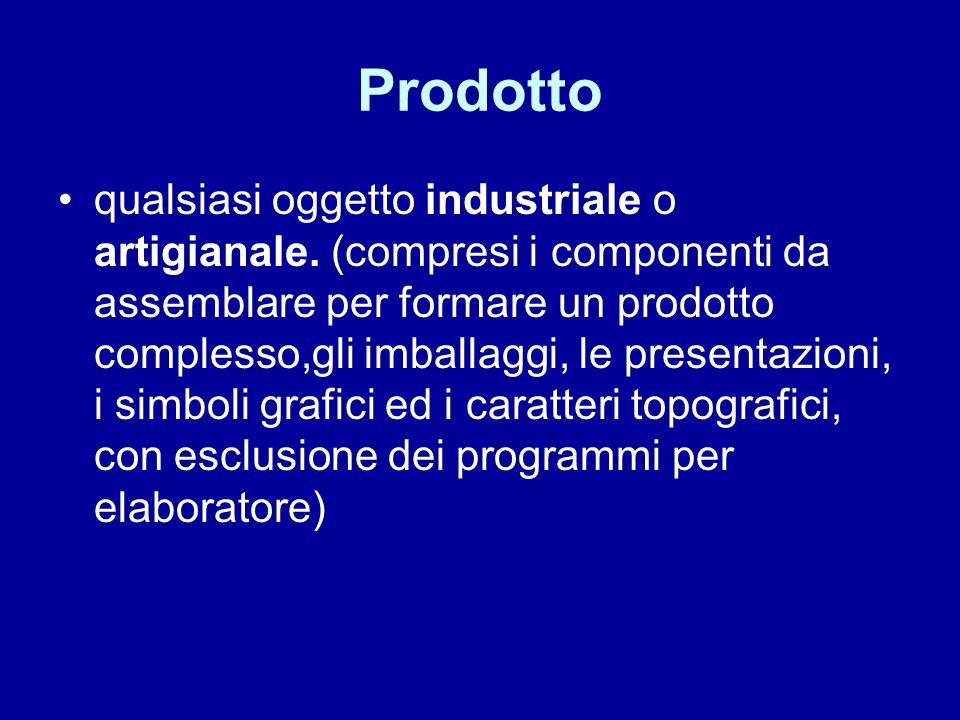 Prodotto qualsiasi oggetto industriale o artigianale.