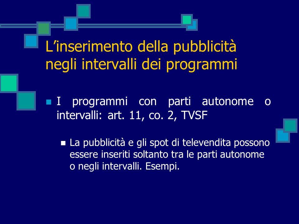 Linserimento della pubblicità negli intervalli dei programmi I programmi con parti autonome o intervalli: art. 11, co. 2, TVSF La pubblicità e gli spo