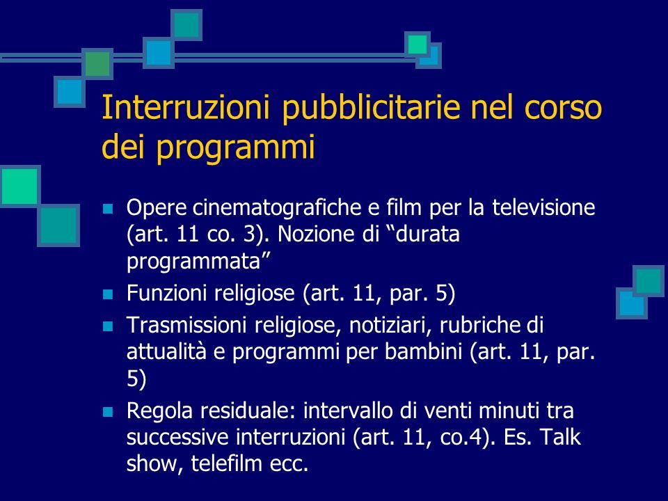 Interruzioni pubblicitarie nel corso dei programmi Opere cinematografiche e film per la televisione (art. 11 co. 3). Nozione di durata programmata Fun