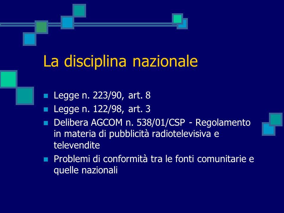 La disciplina nazionale Legge n. 223/90, art. 8 Legge n. 122/98, art. 3 Delibera AGCOM n. 538/01/CSP - Regolamento in materia di pubblicità radiotelev
