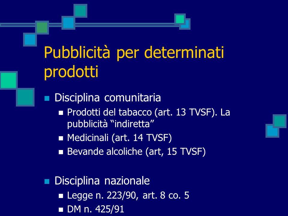 Pubblicità per determinati prodotti Disciplina comunitaria Prodotti del tabacco (art. 13 TVSF). La pubblicità indiretta Medicinali (art. 14 TVSF) Beva