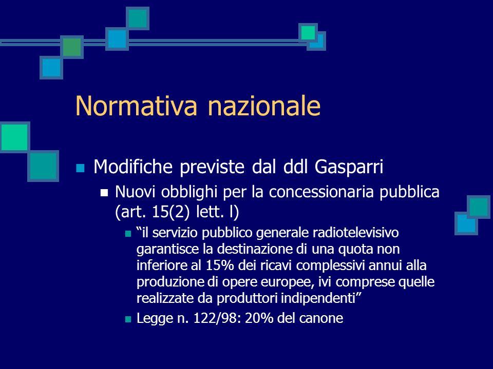 Normativa nazionale Modifiche previste dal ddl Gasparri Nuovi obblighi per la concessionaria pubblica (art. 15(2) lett. l) il servizio pubblico genera