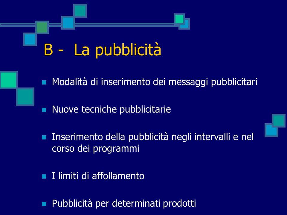B - La pubblicità Modalità di inserimento dei messaggi pubblicitari Nuove tecniche pubblicitarie Inserimento della pubblicità negli intervalli e nel c