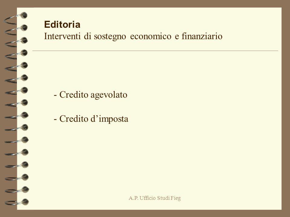 A.P. Ufficio Studi Fieg Editoria Interventi di sostegno economico e finanziario - Credito agevolato - Credito dimposta