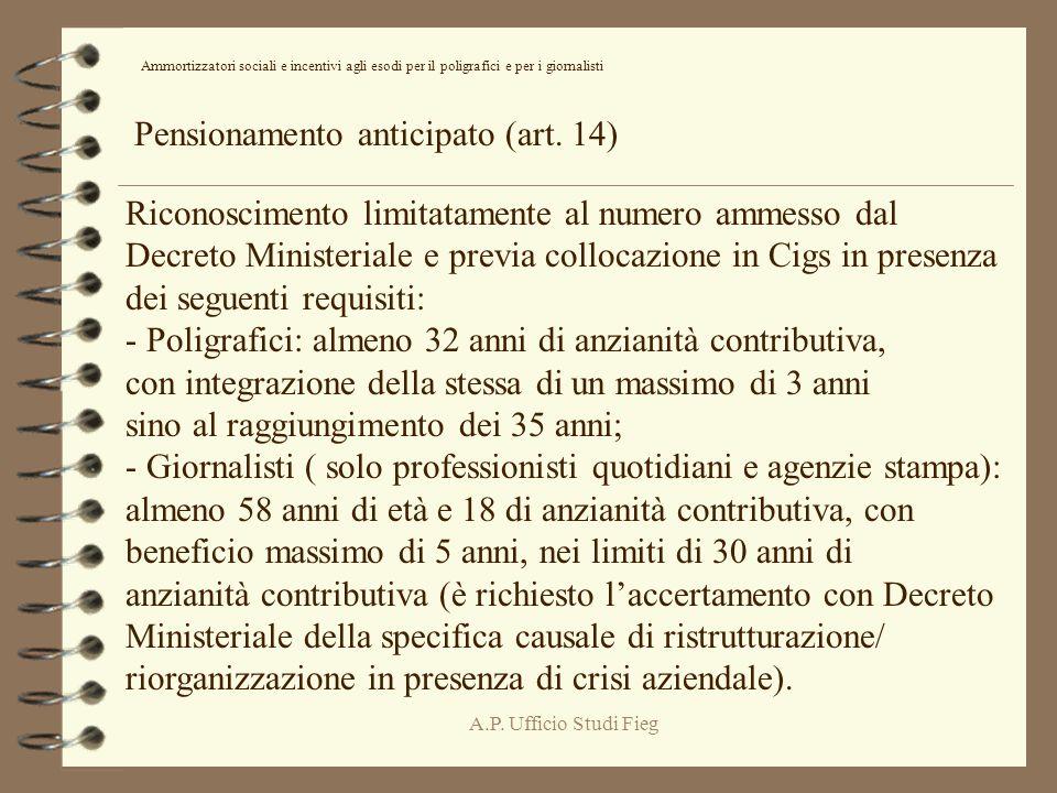 A.P. Ufficio Studi Fieg Pensionamento anticipato (art.