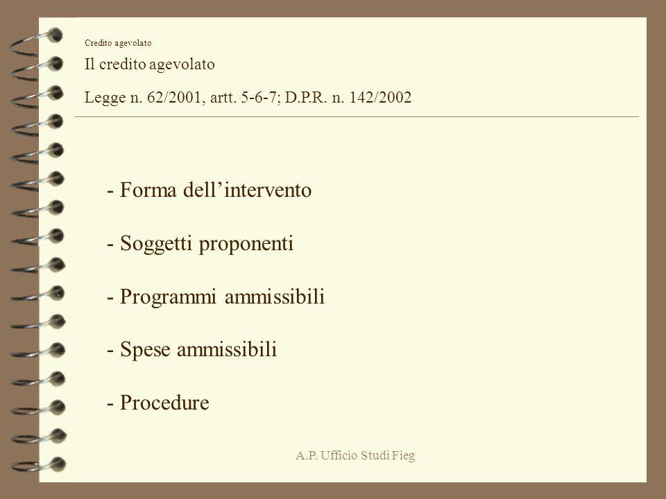 A.P. Ufficio Studi Fieg Credito agevolato Il credito agevolato Legge n.