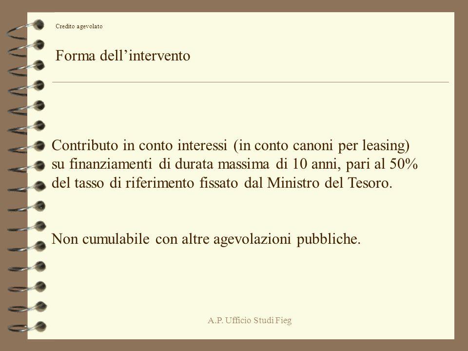 A.P. Ufficio Studi Fieg Credito agevolato Forma dellintervento Contributo in conto interessi (in conto canoni per leasing) su finanziamenti di durata