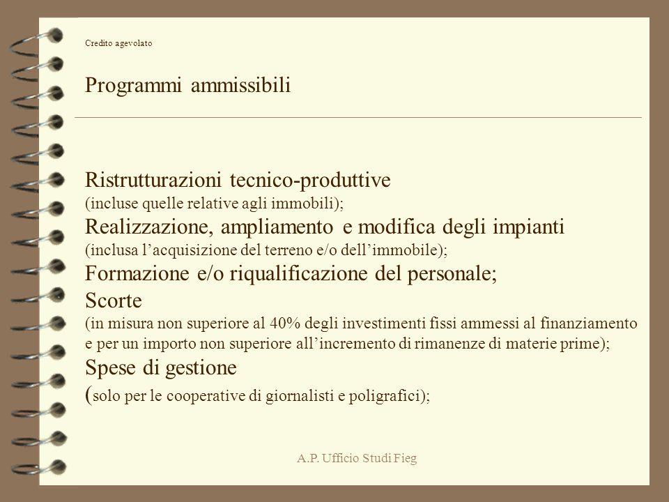 A.P. Ufficio Studi Fieg Credito agevolato Programmi ammissibili Ristrutturazioni tecnico-produttive (incluse quelle relative agli immobili); Realizzaz