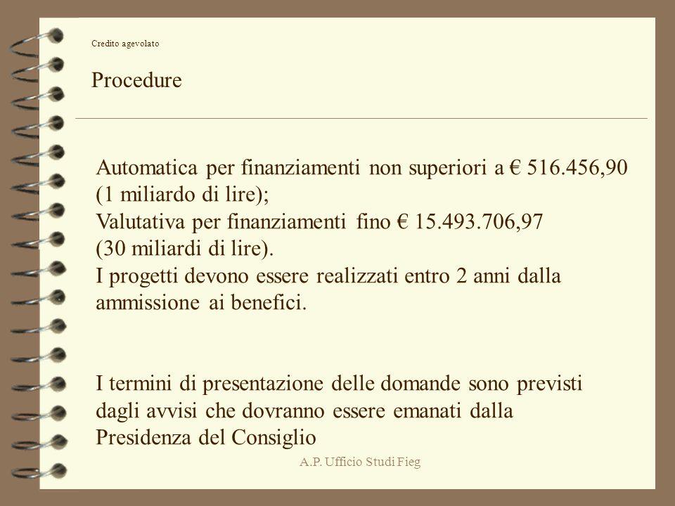 A.P. Ufficio Studi Fieg Credito agevolato Procedure Automatica per finanziamenti non superiori a 516.456,90 (1 miliardo di lire); Valutativa per finan