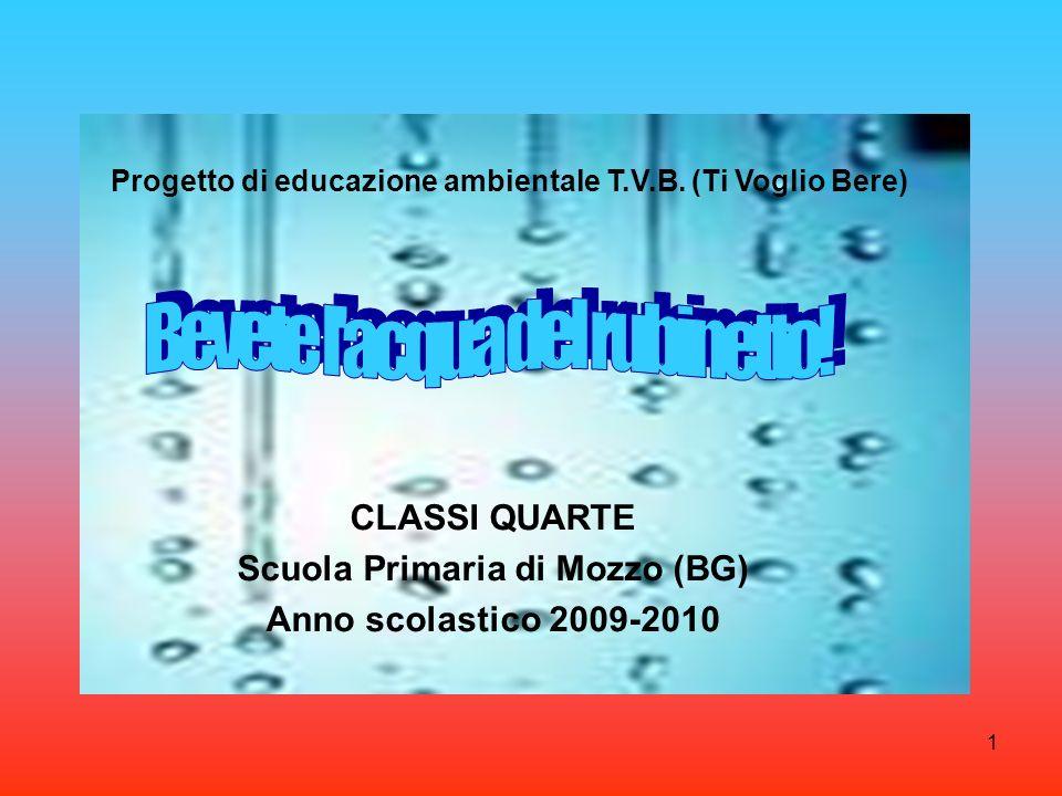 CLASSI QUARTE Scuola Primaria di Mozzo (BG) Anno scolastico 2009-2010 1 Progetto di educazione ambientale T.V.B. (Ti Voglio Bere)