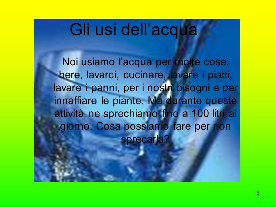 Gli usi dellacqua Noi usiamo lacqua per molte cose: bere, lavarci, cucinare, lavare i piatti, lavare i panni, per i nostri bisogni e per innaffiare le