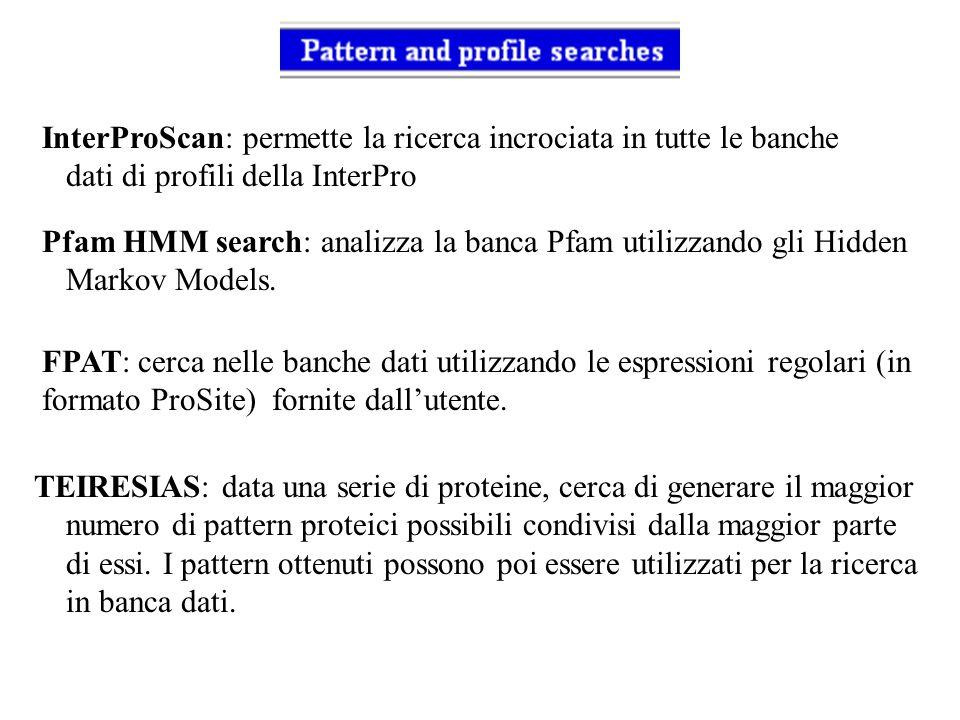 InterProScan: permette la ricerca incrociata in tutte le banche dati di profili della InterPro Pfam HMM search: analizza la banca Pfam utilizzando gli