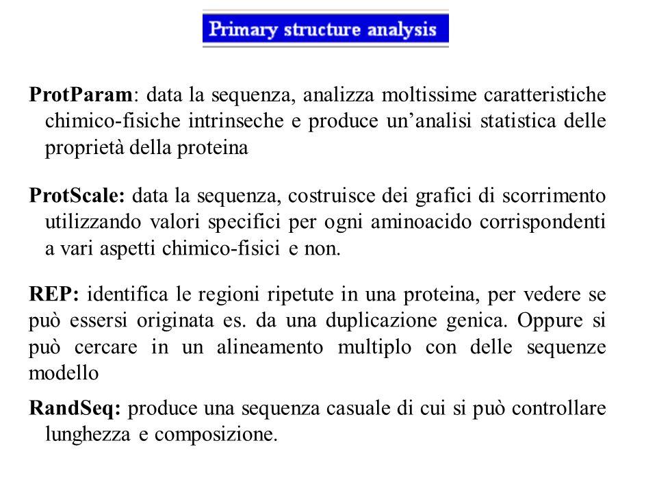 ProtParam: data la sequenza, analizza moltissime caratteristiche chimico-fisiche intrinseche e produce unanalisi statistica delle proprietà della prot