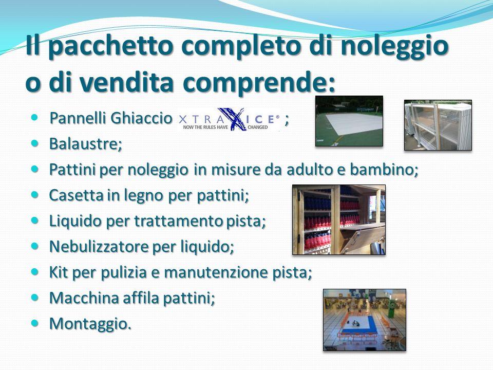 Il pacchetto completo di noleggio o di vendita comprende: Pannelli Ghiaccio ; Balaustre; Balaustre; Pattini per noleggio in misure da adulto e bambino