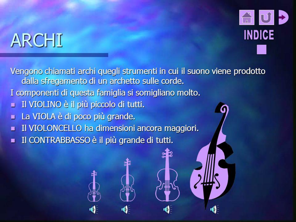 CLASSIFICAZIONE DEGLI STRUMENTI MUSICALI Gli strumenti musicali si dividono in famiglie, in base al modo in cui viene prodotto il suono. STRUMENTI A C