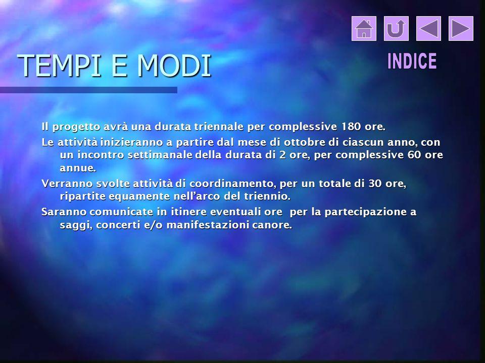 TEMPI E MODI Il progetto avrà una durata triennale per complessive 180 ore.