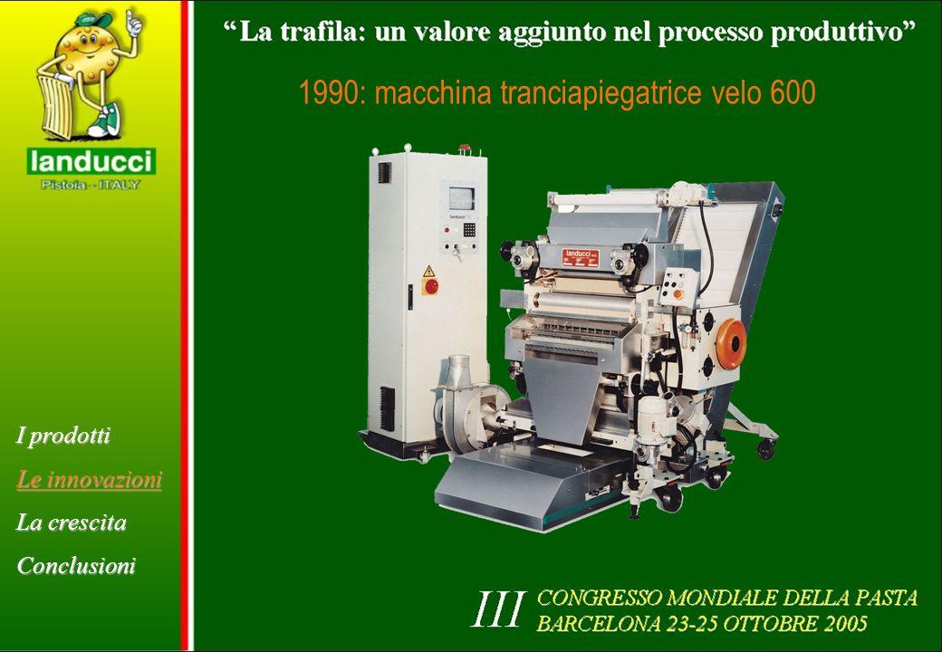 1990: macchina tranciapiegatrice velo 600 I prodotti Le innovazioni La crescita Conclusioni
