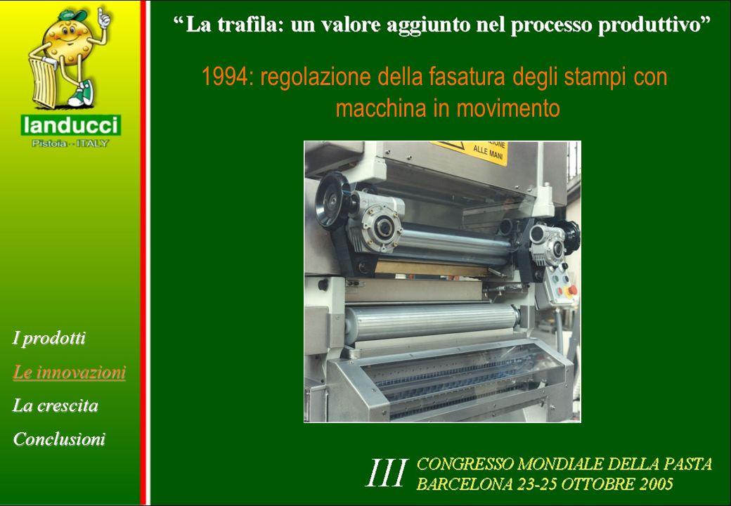 1994: regolazione della fasatura degli stampi con macchina in movimento I prodotti Le innovazioni La crescita Conclusioni
