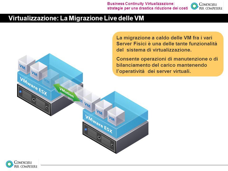 Business Continuity Virtualizzazione: strategie per una drastica riduzione dei costi Virtualizzazione: La Migrazione Live delle VM La migrazione a caldo delle VM fra i vari Server Fisici è una delle tante funzionalità del sistema di virtualizzazione.