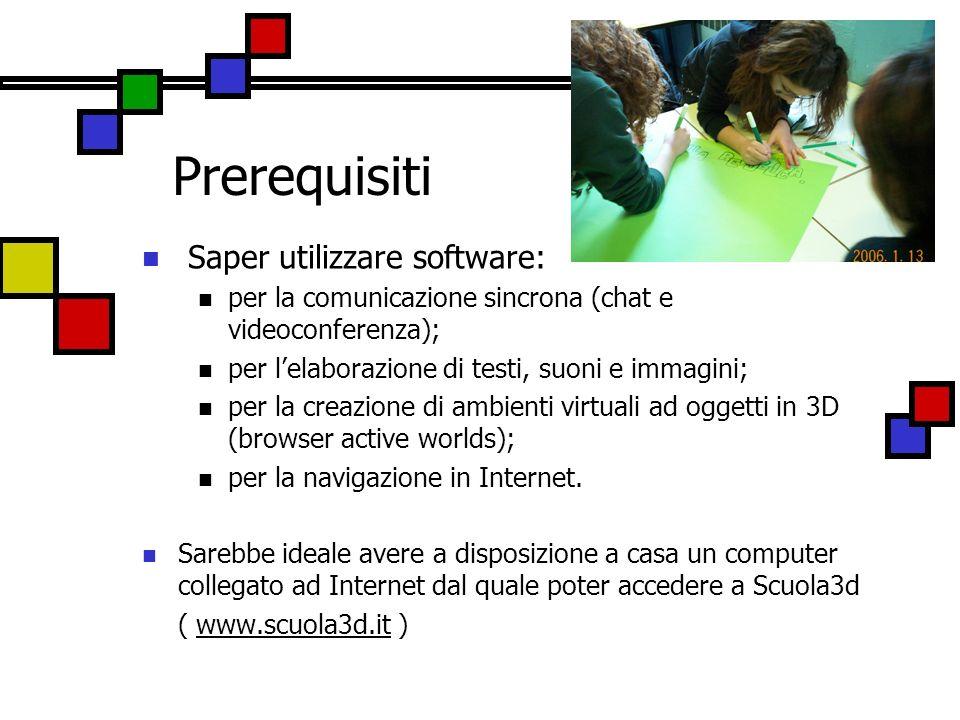 Prerequisiti Saper utilizzare software: per la comunicazione sincrona (chat e videoconferenza); per lelaborazione di testi, suoni e immagini; per la c