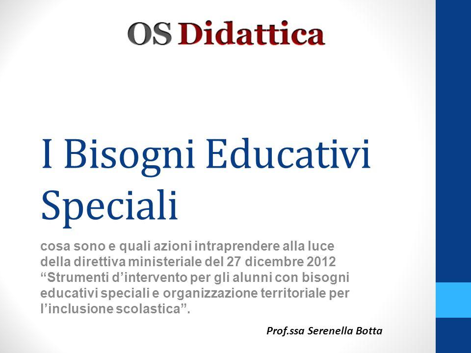Larea dei Bisogni Educativi Speciali, (Special Educational Needs), comprende tre grandi sotto-categorie: 1.la disabilità (Legge 104/92); 2.quella dei disturbi evolutivi specifici; 3.quella dello svantaggio socio-economico, linguistico, culturale.
