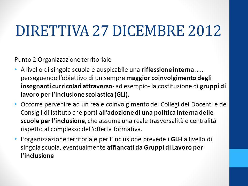 DIRETTIVA 27 DICEMBRE 2012 Punto 2 Organizzazione territoriale A livello di singola scuola è auspicabile una riflessione interna …..