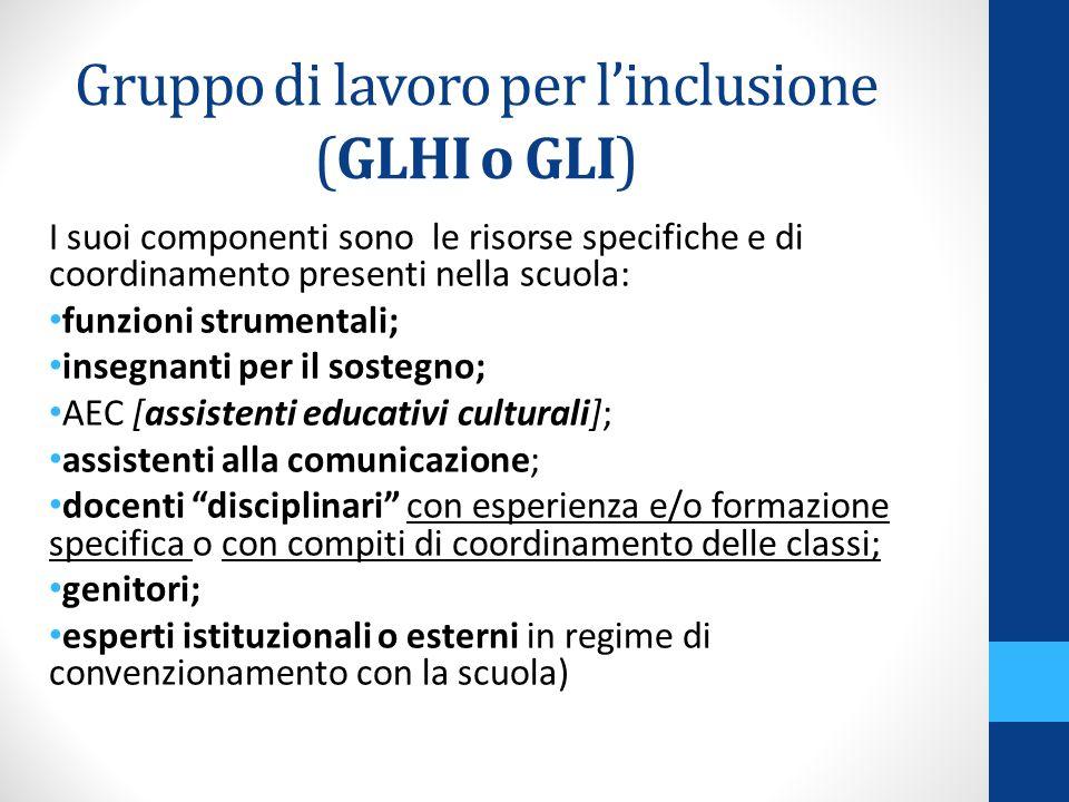 Gruppo di lavoro per linclusione (GLHI o GLI) I suoi componenti sono le risorse specifiche e di coordinamento presenti nella scuola: funzioni strument
