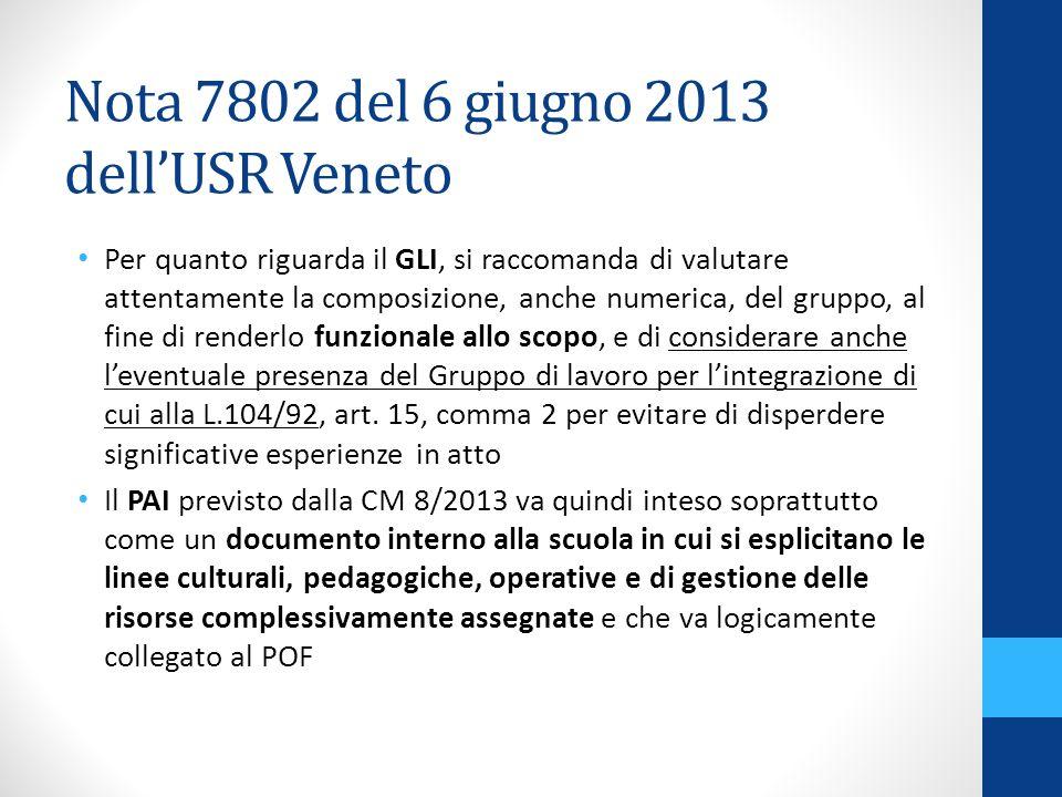 Nota 7802 del 6 giugno 2013 dellUSR Veneto Per quanto riguarda il GLI, si raccomanda di valutare attentamente la composizione, anche numerica, del gruppo, al fine di renderlo funzionale allo scopo, e di considerare anche leventuale presenza del Gruppo di lavoro per lintegrazione di cui alla L.104/92, art.