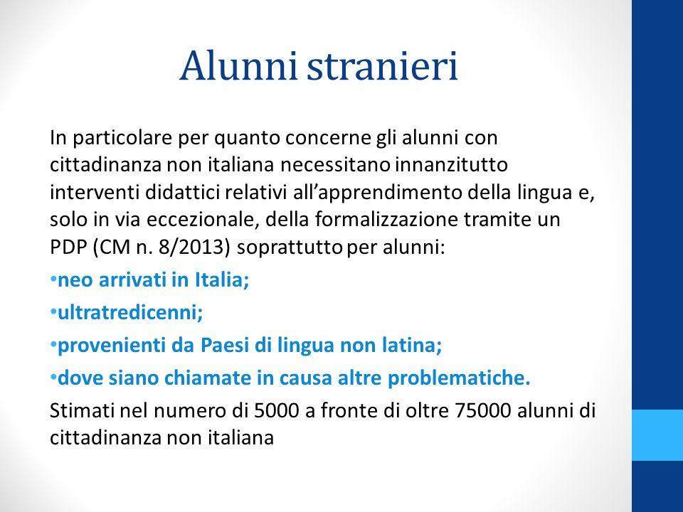 Alunni stranieri In particolare per quanto concerne gli alunni con cittadinanza non italiana necessitano innanzitutto interventi didattici relativi al