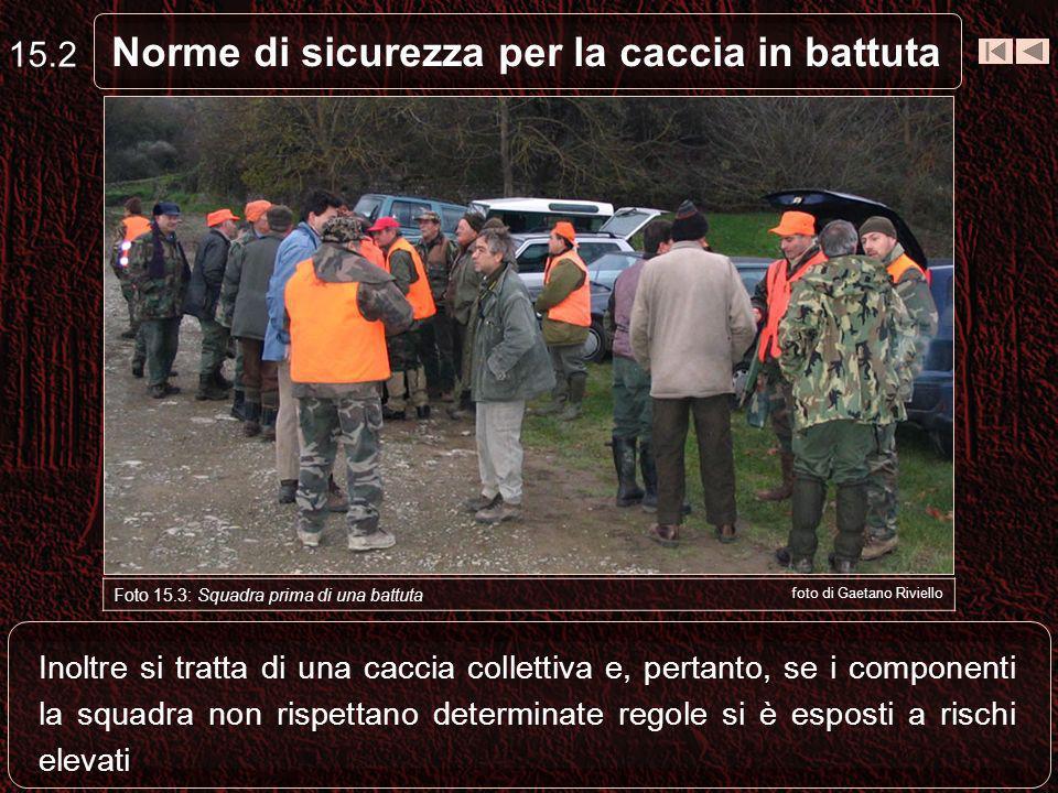 Norme di sicurezza per la caccia in battuta 15.2 Foto 15.3: Squadra prima di una battuta foto di Gaetano Riviello Inoltre si tratta di una caccia coll