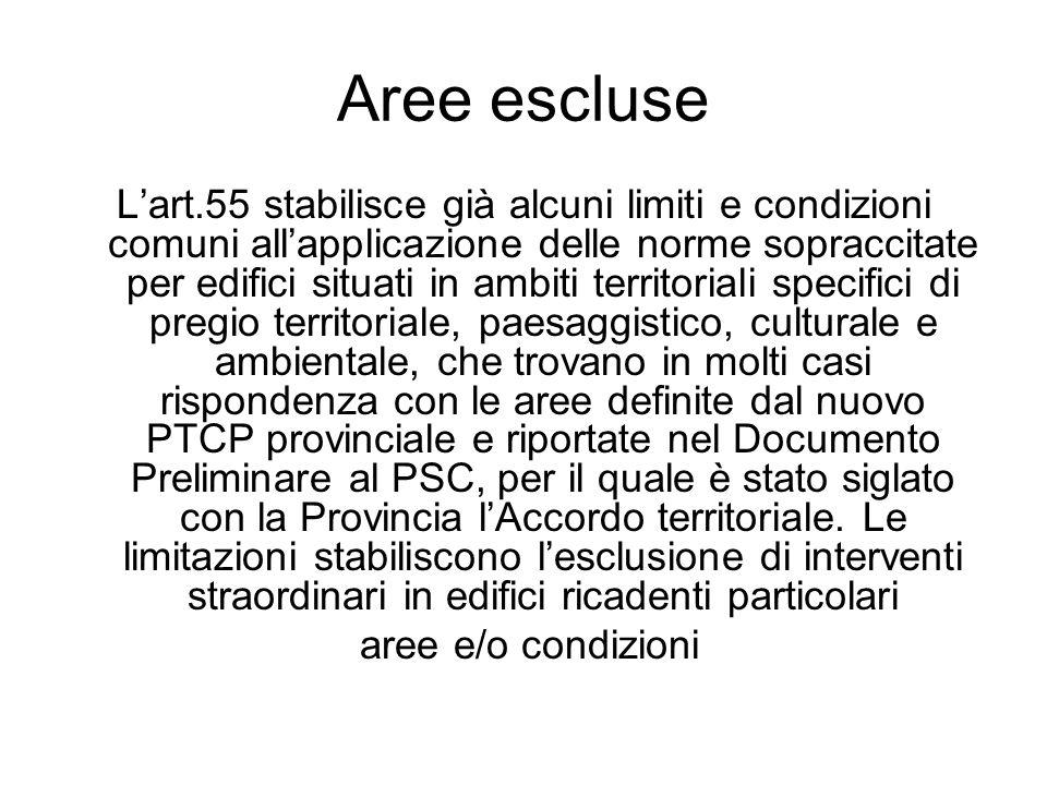 Aree escluse Lart.55 stabilisce già alcuni limiti e condizioni comuni allapplicazione delle norme sopraccitate per edifici situati in ambiti territori