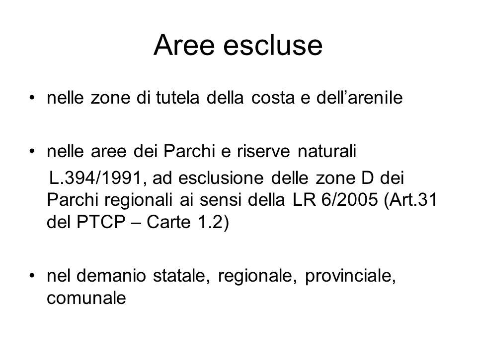 Aree escluse nelle zone di tutela della costa e dellarenile nelle aree dei Parchi e riserve naturali L.394/1991, ad esclusione delle zone D dei Parchi