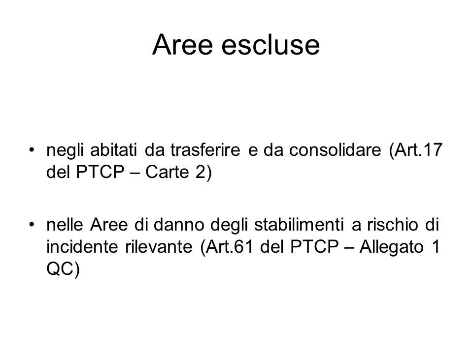 Aree escluse negli abitati da trasferire e da consolidare (Art.17 del PTCP – Carte 2) nelle Aree di danno degli stabilimenti a rischio di incidente ri