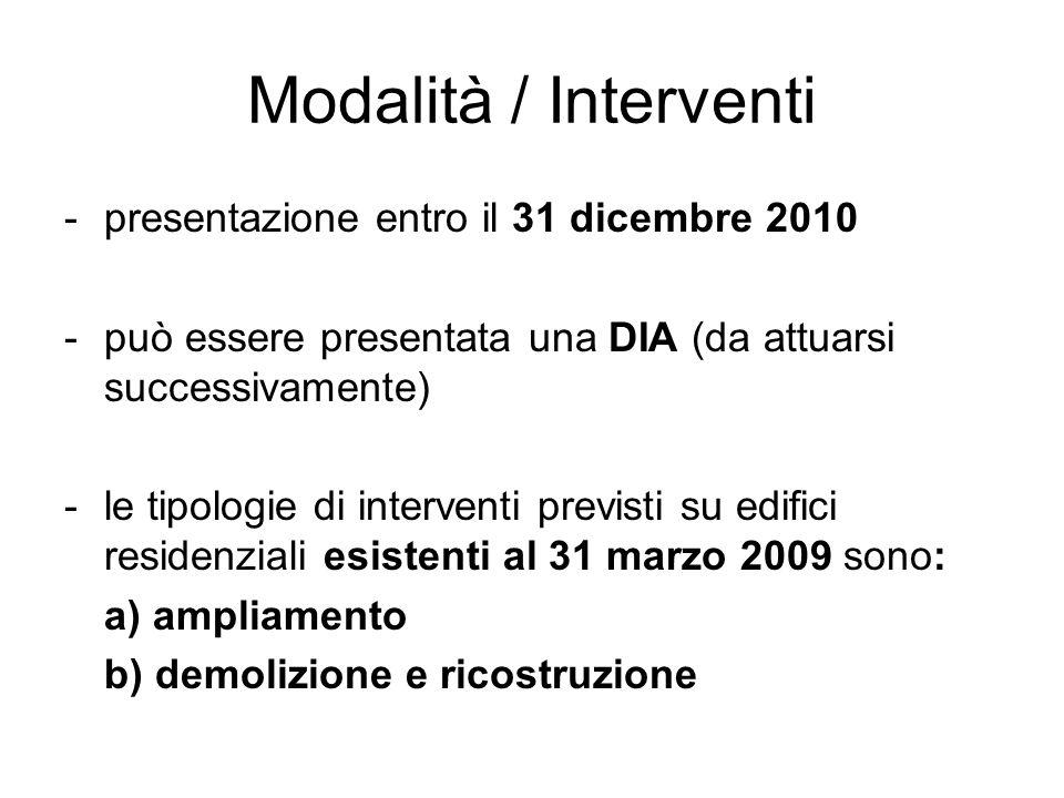 Modalità / Interventi -presentazione entro il 31 dicembre 2010 -può essere presentata una DIA (da attuarsi successivamente) -le tipologie di intervent