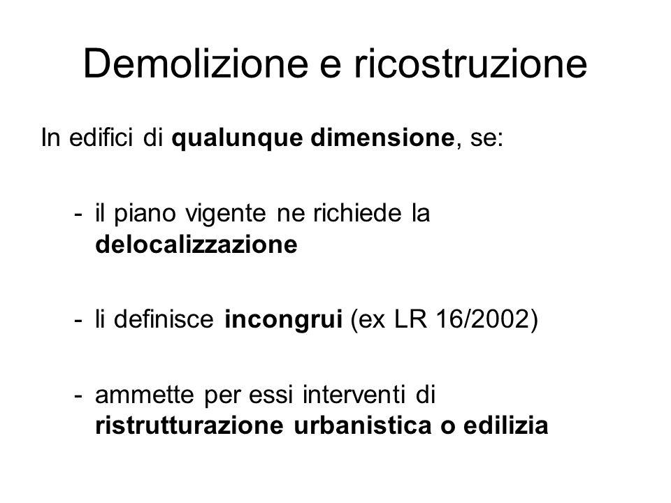 Demolizione e ricostruzione In edifici di qualunque dimensione, se: -il piano vigente ne richiede la delocalizzazione -li definisce incongrui (ex LR 1