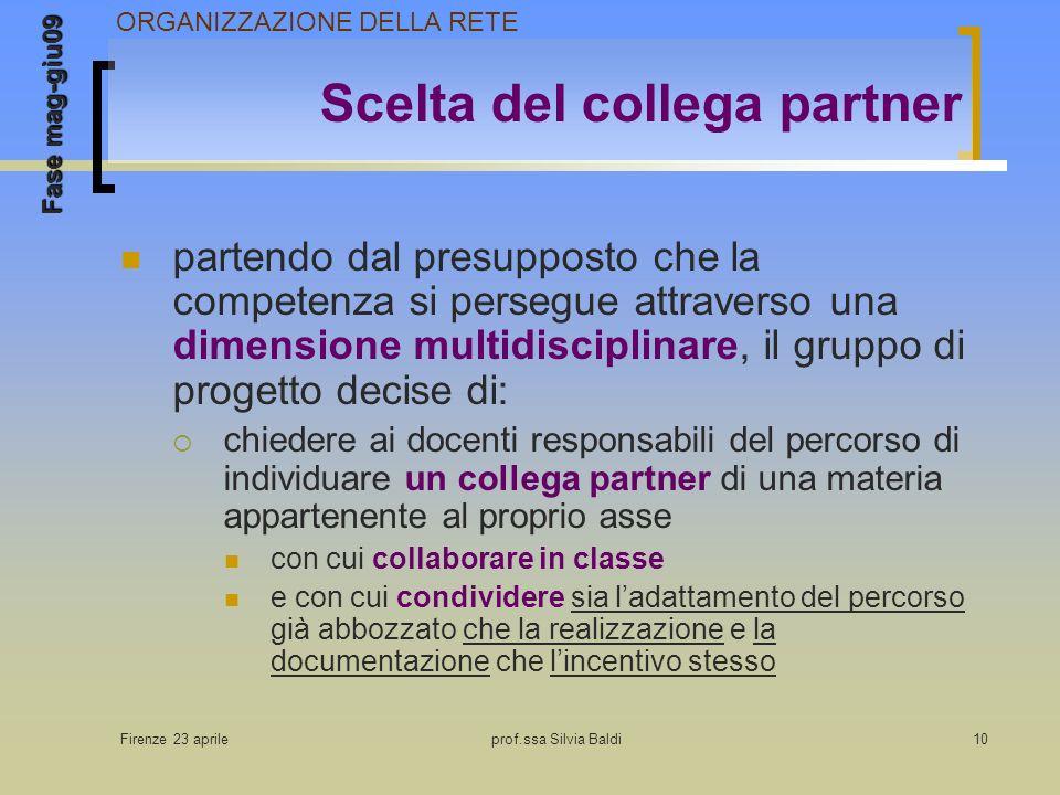 Firenze 23 aprileprof.ssa Silvia Baldi10 Scelta del collega partner partendo dal presupposto che la competenza si persegue attraverso una dimensione m