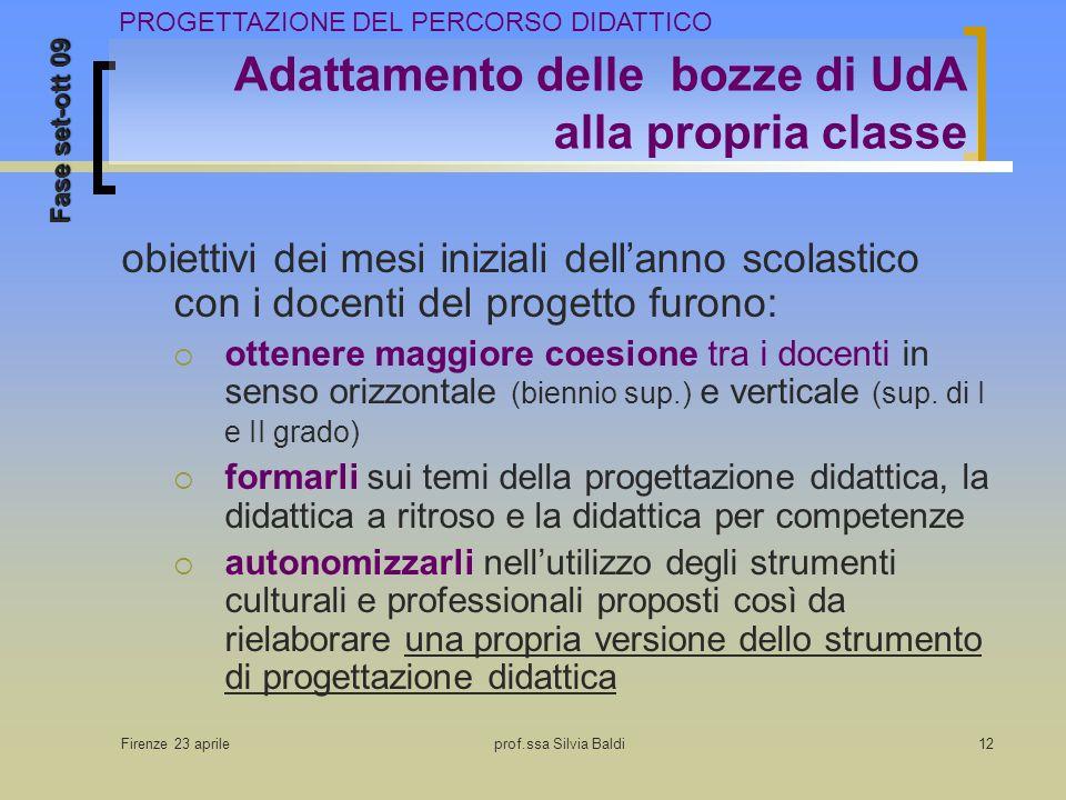 Firenze 23 aprileprof.ssa Silvia Baldi12 Adattamento delle bozze di UdA alla propria classe obiettivi dei mesi iniziali dellanno scolastico con i doce