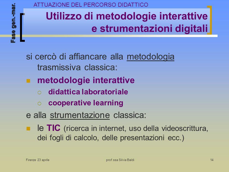 Firenze 23 aprileprof.ssa Silvia Baldi14 Utilizzo di metodologie interattive e strumentazioni digitali si cercò di affiancare alla metodologia trasmis