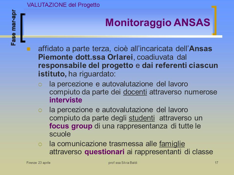 Firenze 23 aprileprof.ssa Silvia Baldi17 Monitoraggio ANSAS affidato a parte terza, cioè allincaricata dellAnsas Piemonte dott.ssa Orlarei, coadiuvata