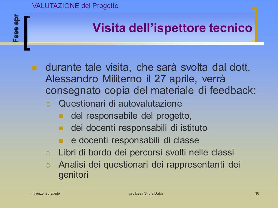 Firenze 23 aprileprof.ssa Silvia Baldi18 Visita dellispettore tecnico durante tale visita, che sarà svolta dal dott. Alessandro Militerno il 27 aprile