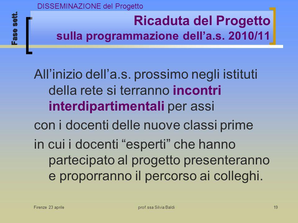 Firenze 23 aprileprof.ssa Silvia Baldi19 Ricaduta del Progetto sulla programmazione della.s. 2010/11 Allinizio della.s. prossimo negli istituti della