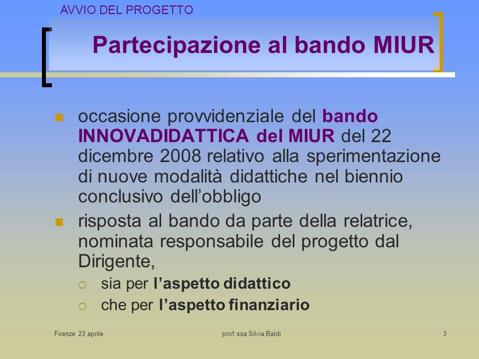 Firenze 23 aprileprof.ssa Silvia Baldi3 Partecipazione al bando MIUR occasione provvidenziale del bando INNOVADIDATTICA del MIUR del 22 dicembre 2008