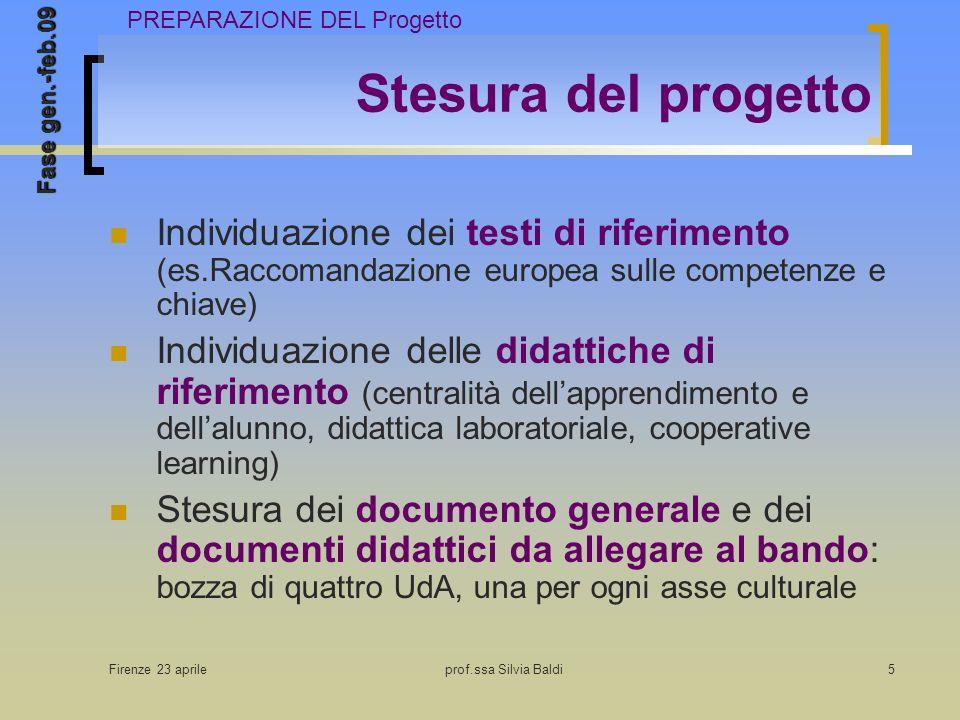 Firenze 23 aprileprof.ssa Silvia Baldi5 Stesura del progetto Individuazione dei testi di riferimento (es.Raccomandazione europea sulle competenze e chiave) Individuazione delle didattiche di riferimento (centralità dellapprendimento e dellalunno, didattica laboratoriale, cooperative learning) Stesura dei documento generale e dei documenti didattici da allegare al bando: bozza di quattro UdA, una per ogni asse culturale PREPARAZIONE DEL Progetto Fase gen.-feb.09